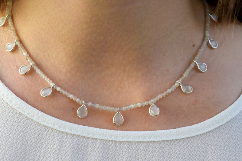 925 Silver Grey Moonstone Drop-Shaped Necklace