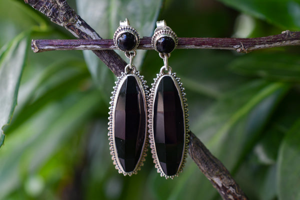 925 Silver Black Onyx Dangling Diamond-Shaped and Round Earrings
