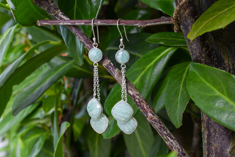 925 Silver Amazonite Dangling Earrings