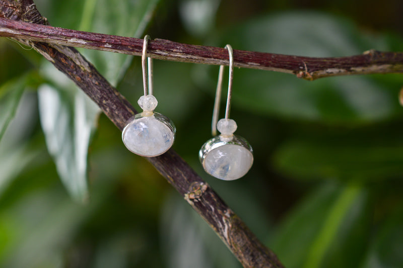 925 Silver Round Rainbow Moonstone Earrings
