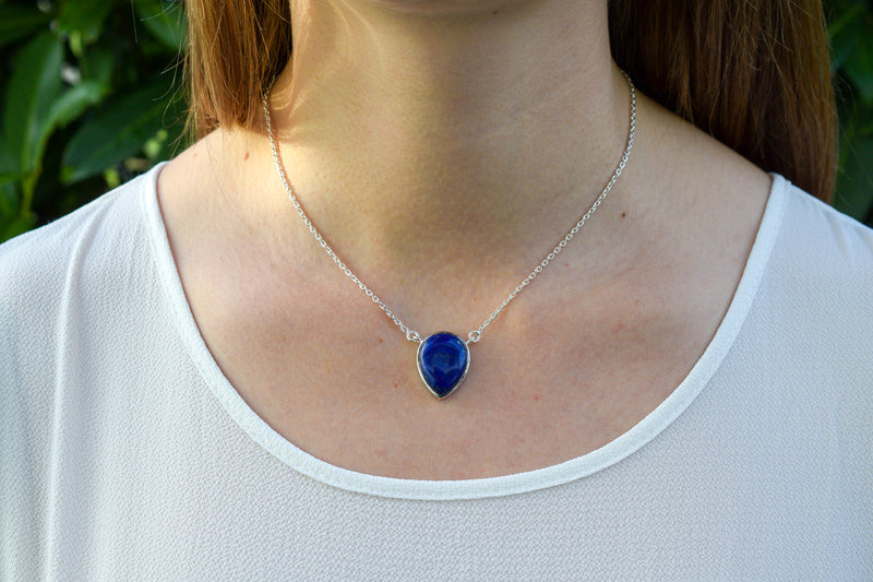 925 Silver Drop-Shaped Lapis Lazuli Pendant with chain