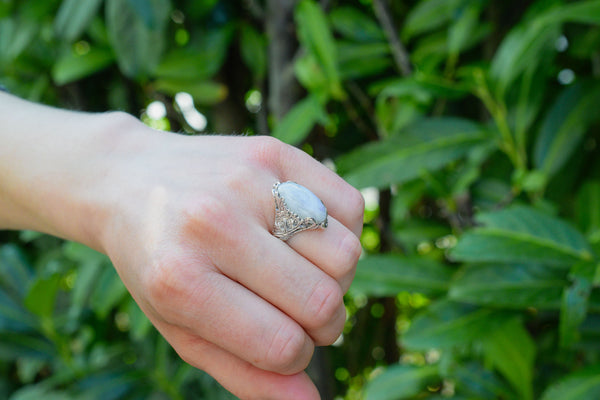 925 Silver Decorated Claw Rainbow Moonstone (White Labradorite) Ring