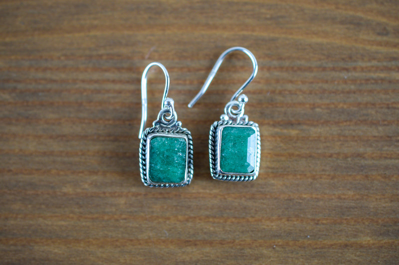 925 Silver Small Square Decorated Earrings