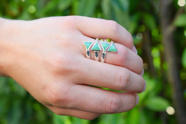 925 Silver Chrysoprase Intertwined Full Finger Ring