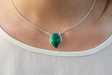 925 Silver Drop-Shaped Emerald Pendant with chain