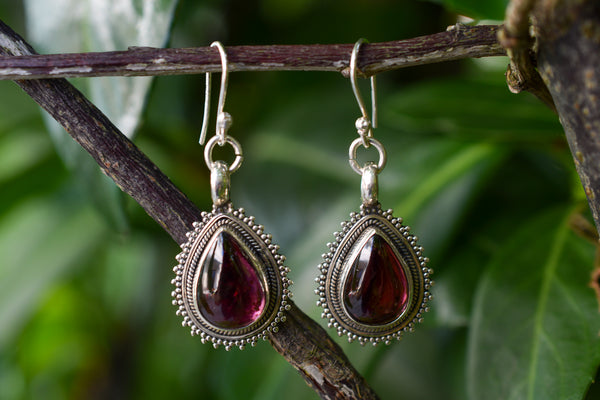 925 Silver Decorated Garnet Drop Earrings