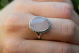 925 Silver Large Oval Rose Quartz Decorated Ring