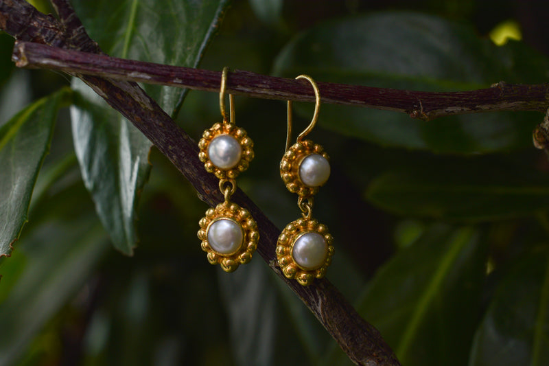 925 Gold-Plated Silver Decorated Two Cultured Pearl Earrings