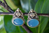 925 Silver Chalcedony (Blue Agate) Mughal-Style Heavy Earrings