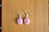 925 Silver Large Dangling Rhodochrosite Earrings