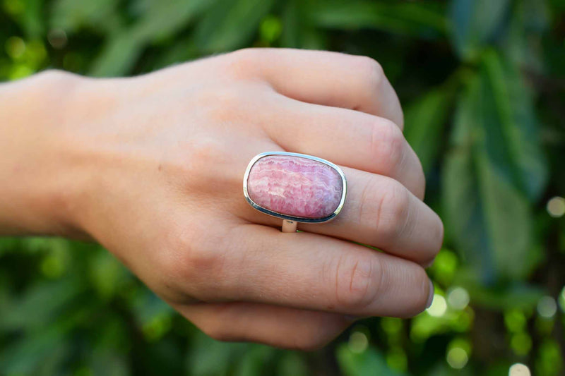925 Silver Rhodochrosite Rectangular Medium Ring