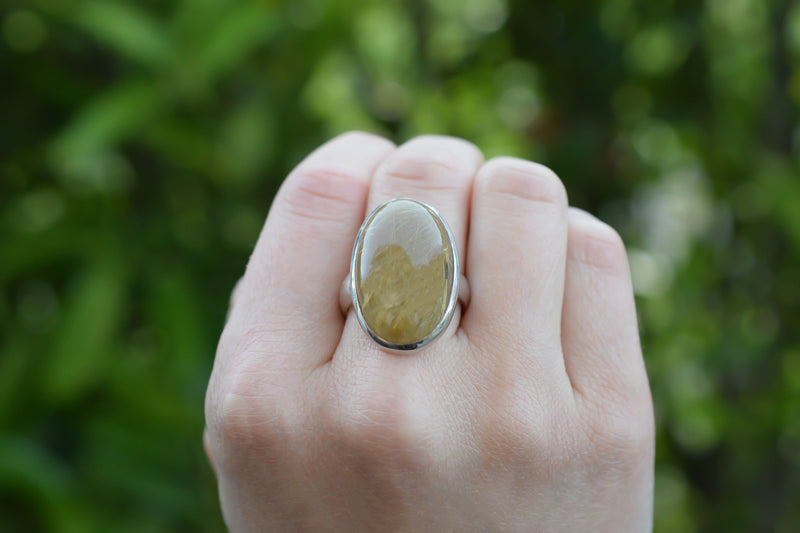 925 Silver Rutilated Quartz Large Oval Ring