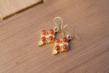 925 Silver Gold-Plated Four Carnelian Indian-Style Mughal Earrings