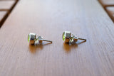 925 SIlver Faceted Peridot Stud∂ Earrings
