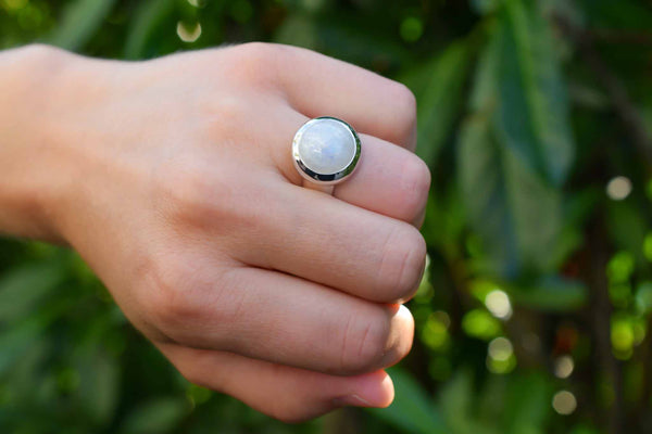 925 Silver Rainbow Moonstone Heavy Circular Ring