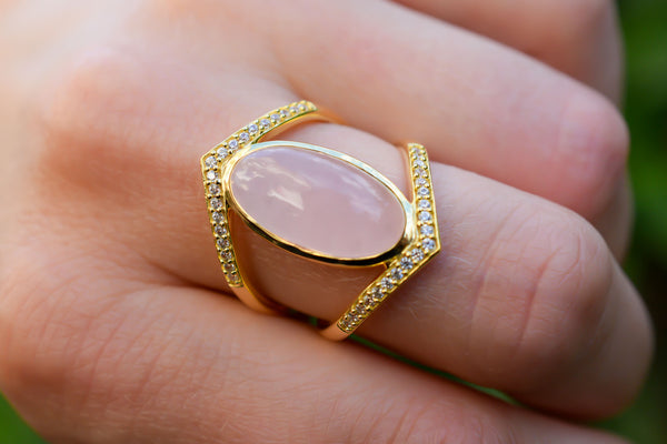 925 Silver Pink Agate and Zirconia Ring