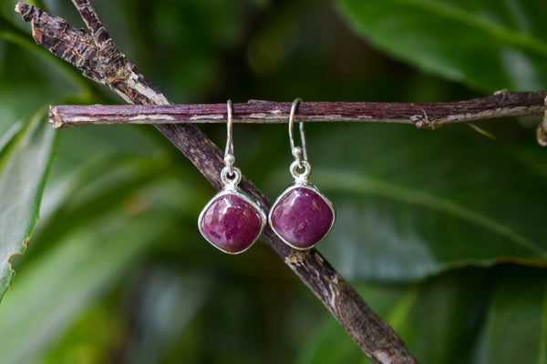 925 Silver Dangling Natural Ruby Earrings
