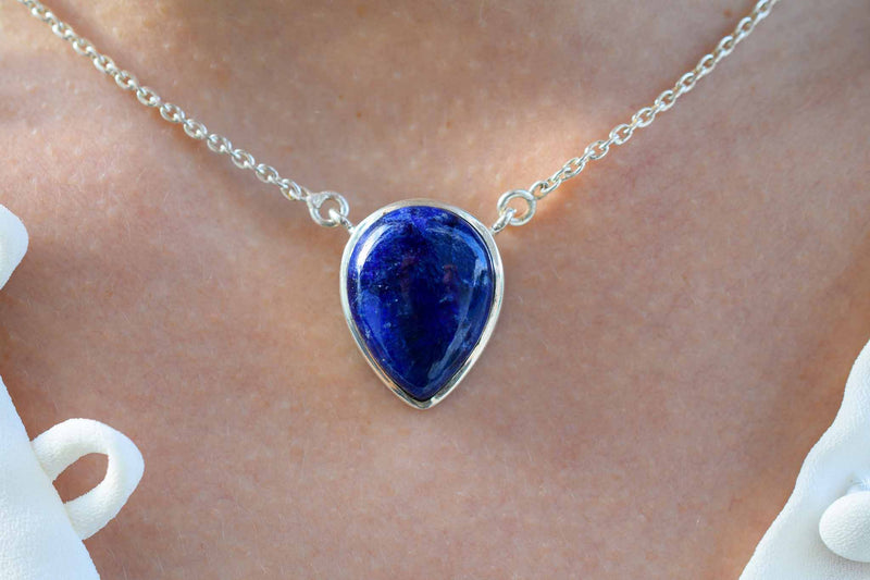 925 Silver Drop-Shaped Sapphire Pendant with chain