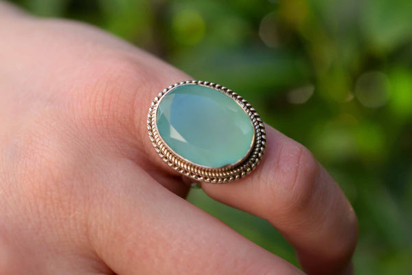 925 Silver Faceted Green Agate Circular Decorated Ring