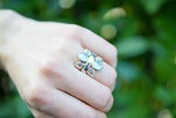 925 Silver Nacre And Rock Crystal Flower Ring