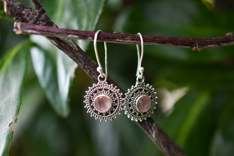 925 Silver Pink Agate Round Decorated Earrings