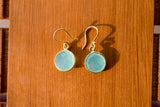 925 Silver Gold-Plated Aqua Agate Circular Small Dangling Earrings