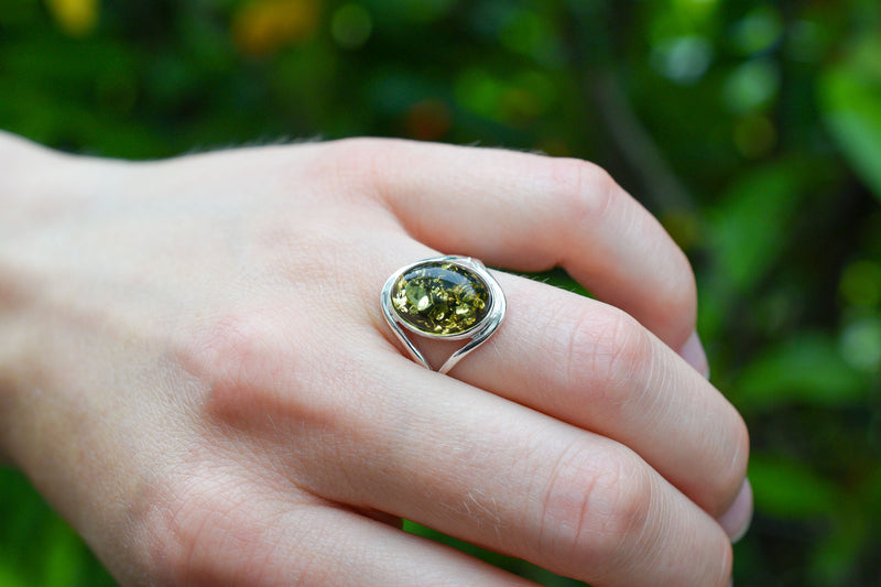 925 Silver Oval Green Amber Ring