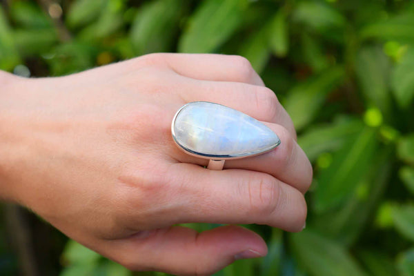 925 Silver Very Large Rainbow Moonstone Drop Ring