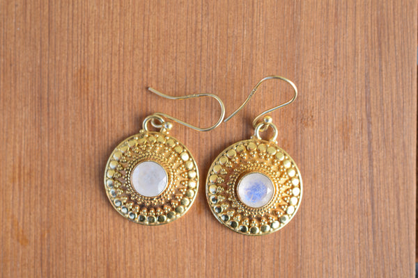 925 Silver Gold-Plated Circular Decorated Rainbow Moonstone Earrings