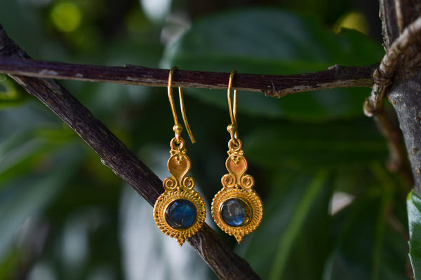 925 Silver Gold-Plated Labradorite Indian-Style Earrings