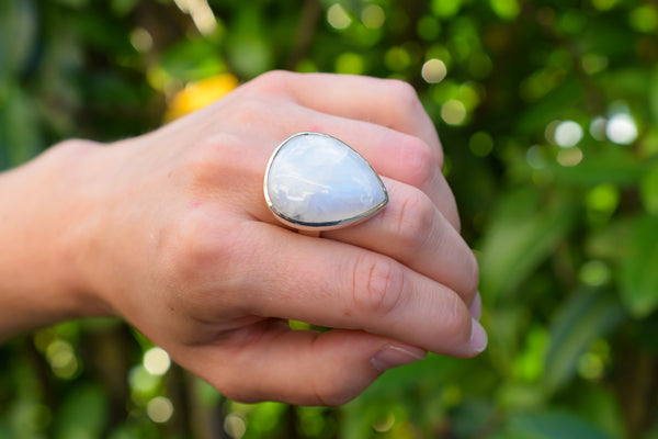 925 Silver Large Rainbow Moonstone Drop Ring