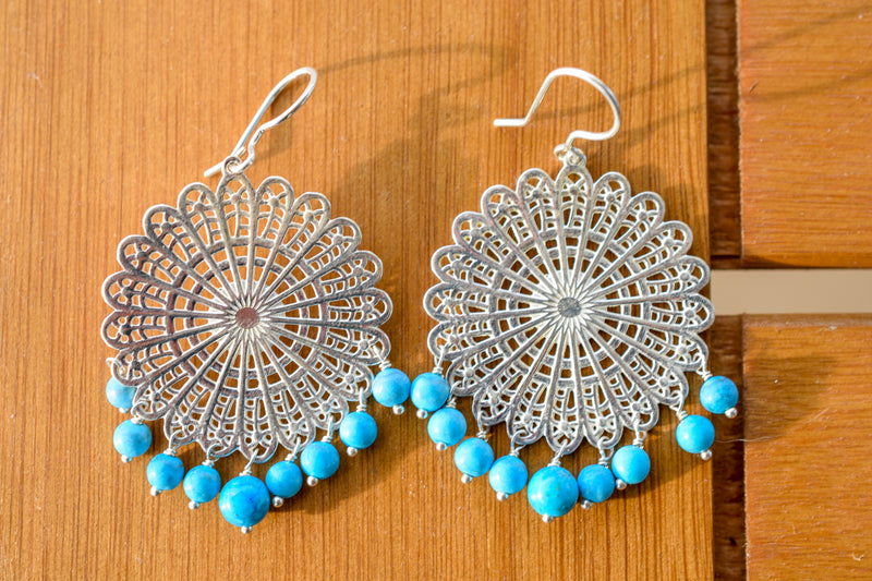 925 Silver Filigram Large Turquoise Earrings