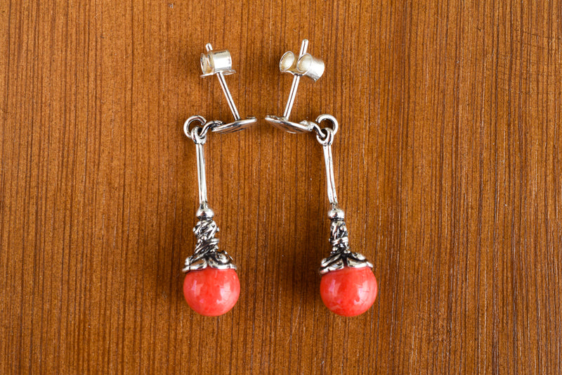 925 Silver Reconstituted Coral Dangling Decorated Earrings