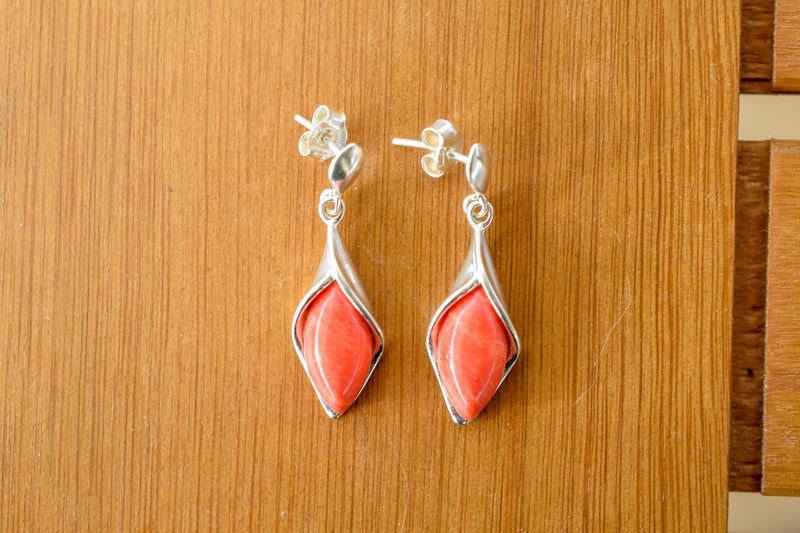 925 Silver Synthetic Coral Earrings