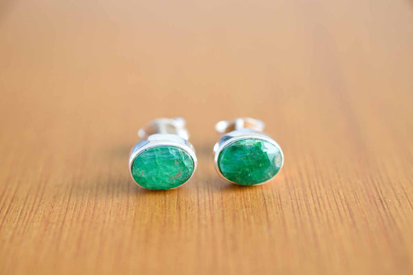 925 Silver Small Oval Stud Emerald Earrings
