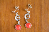 925 Silver Reconstituted Coral Dangling Circular Decorated Earrings