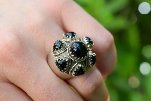 925 Silver Large Black Onyx Mughal Style Ring