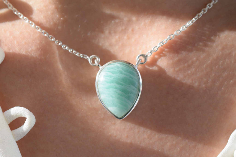 925 Silver Drop-Shaped Amazonite Pendant with chain