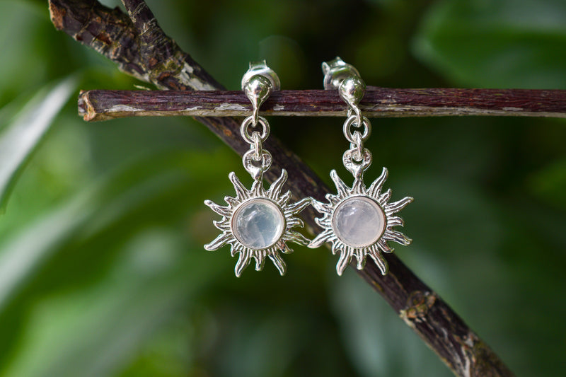 925 Silver Small Sun-Shaped Rose Quartz Earrings