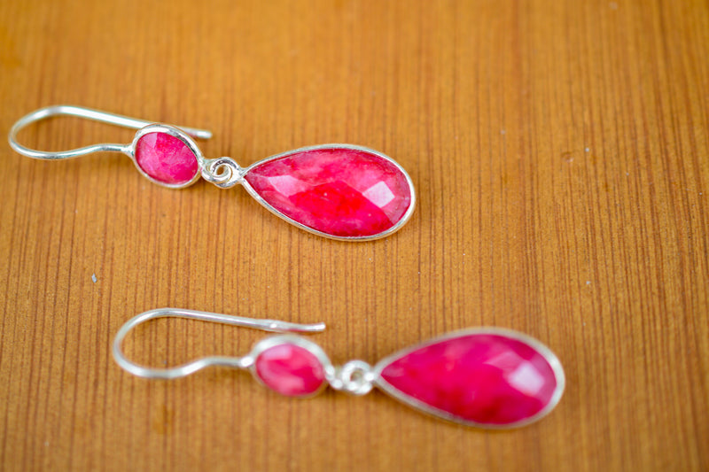 925 Silver Diamond-Shaped Faceted Ruby Earrings
