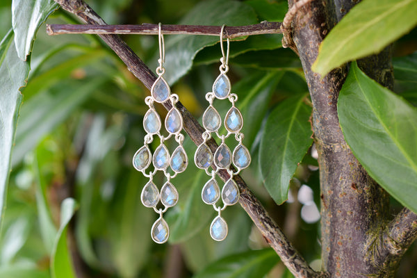 925 Silver Dangling Labradorite Earrings