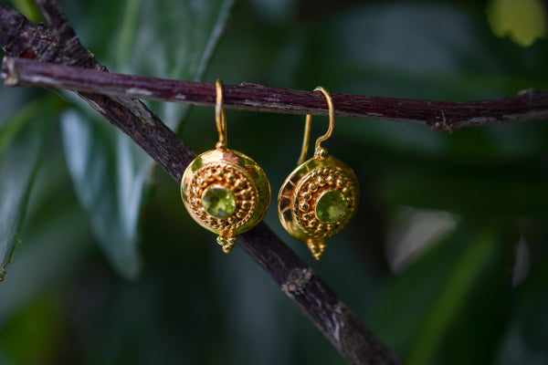 925 Silver Gold-Plated Small Decorated Peridot Earrings