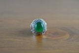 925 Silver Decorated Round Green Onyx Ring