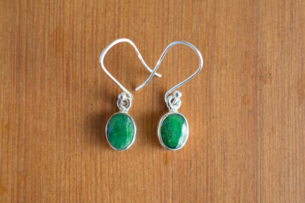 925 Silver Small Round Dangling Emerald Earrings