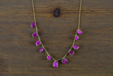 925 Gold-Plated Silver Adjustable Silver Ruby Necklace