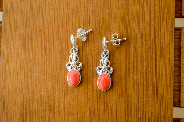 925 Silver Reconstituted Coral Decorated Earrings