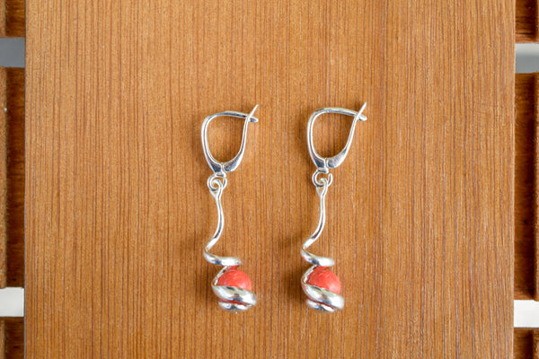 925 Silver Reconstituted Coral Dangling Wrap-Around Decorated Earrings
