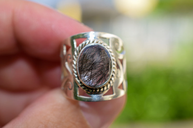925 Silver Quartz Tourmaline Decorated Ring