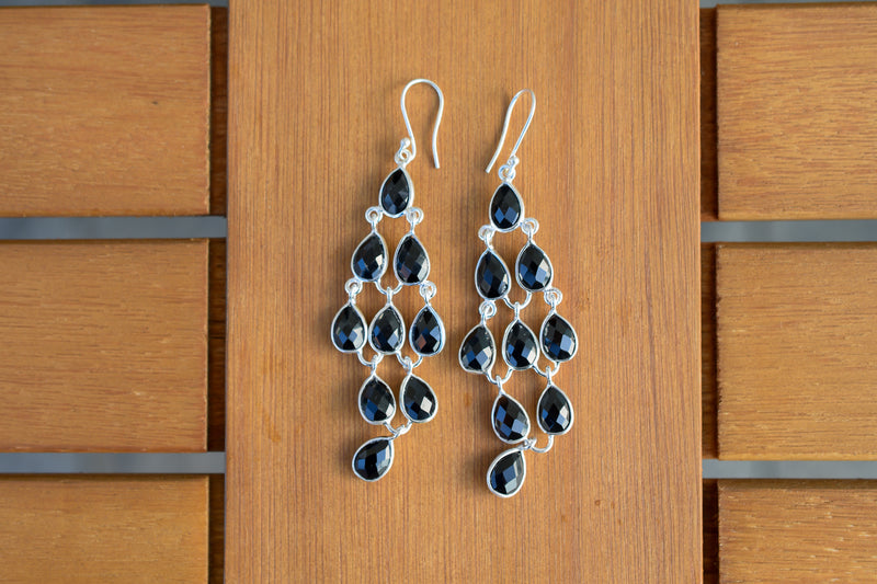 925 Silver Black Onyx Dangling Earrings