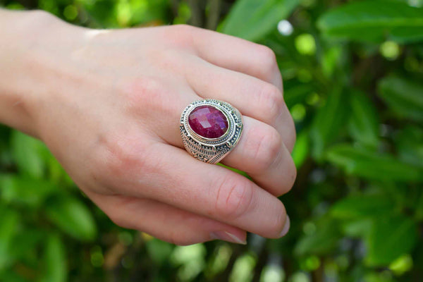 925 Silver Heavy Decorated Ruby Ring